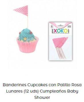 ideas banderines decoración tarta cupcakes