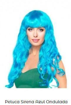peluca disfraz sirena azul fiesta cumpleaños