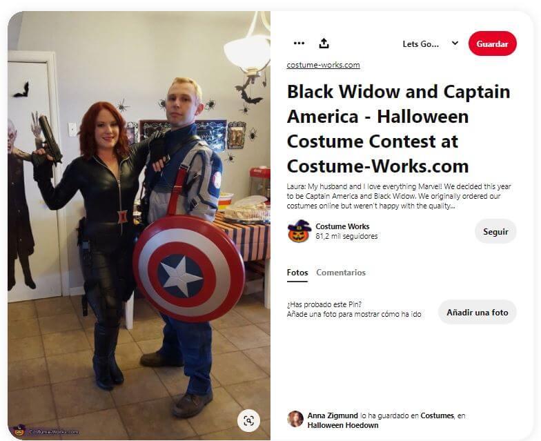 disfraz black widow con capitán américa
