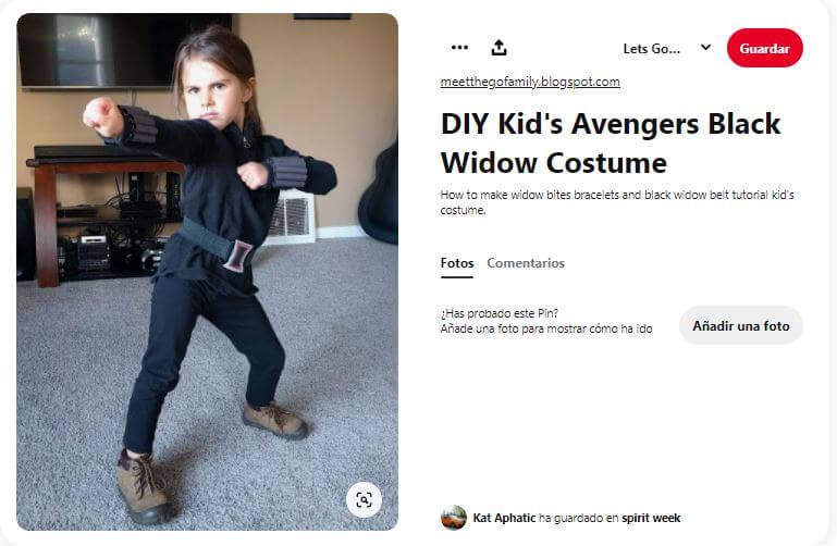 hacer el disfraz viuda negra para niña