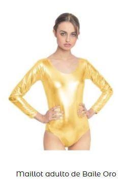 maillot metalizado danza mujer liso oro