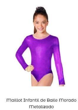 maillot metalizado danza niña liso