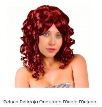 peluca disfraz mujer viuda negra pelirroja