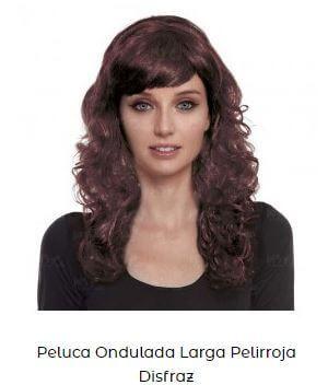 peluca pelirroja disfraz mujer viuda negra