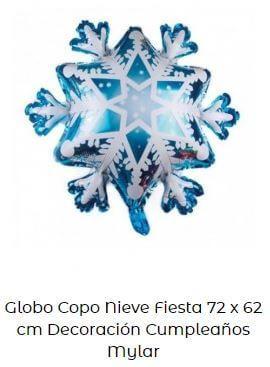 decoración cumpleaños frozen globos copos nieves