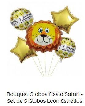 decoración fiesta animales globos león