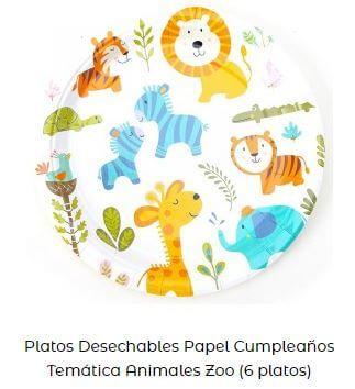 decoración fiesta primer cumpleaños platos animales