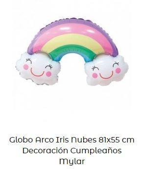 decoración fiesta primer cumpleaños globos arcoíris