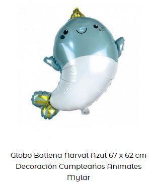 decoración fiesta primer cumpleaños globos delfín