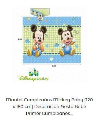 decoración fiesta primer cumpleaños mantel disney bebé