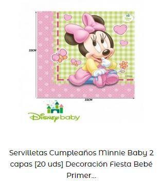 decoración fiesta primer cumpleaños servilletas disney bebé