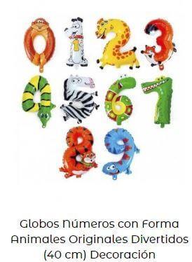 decoración fiesta animales globos números