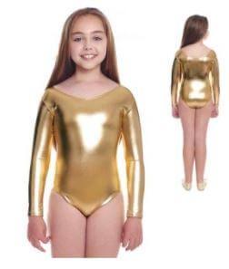 maillot vestuario de ballet niña dorado