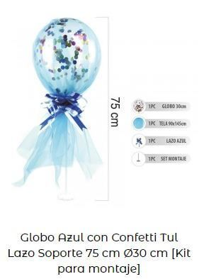 tul globo cumpleaños niño bebé azul
