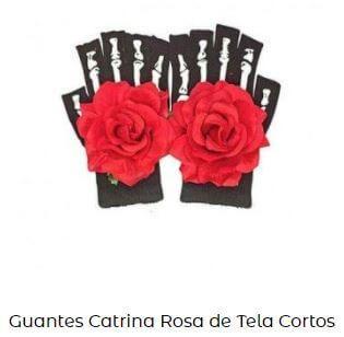guantes disfraz catrina flores